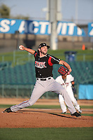 Chris Huffman (8) of the Lake Elsinore Storm pitches against the Lancaster JetHawks at The Hanger on August 2, 2016 in Lancaster, California. Lake Elsinore defeated Lancaster, 10-9. (Larry Goren/Four Seam Images)
