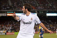 Gonzalo Giguain turns to celebrate, but hears the referees whistles that is was disallowed. Real Madrid defeated Club America 3-2 at Candlestick Park in San Francisco, California on August 4th, 2010.
