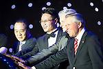 (L-R) Paul Scholes, Feng Xiaogang, unidentified guest, Ken Chu, Michael Douglas, and Gary Player during the Opening Ceremony of the the World Celebrity Pro-Am 2016 Mission Hills China Golf Tournament on 20 October 2016, in Haikou, China. Photo by Victor Fraile / Power Sport Images