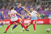 Orlando, FL - Saturday July 01, 2017: Danielle Colaprico, Alanna Kennedy during a regular season National Women's Soccer League (NWSL) match between the Orlando Pride and the Chicago Red Stars at Orlando City Stadium.