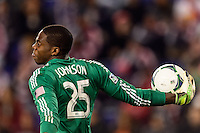 Chicago Fire goalkeeper Sean Johnson (25). The New York Red Bulls defeated the Chicago Fire 5-2 during a Major League Soccer (MLS) match at Red Bull Arena in Harrison, NJ, on October 27, 2013.