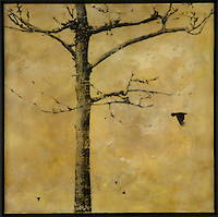 Bare tree in encaustic painting/photo transfer by Jeff League.