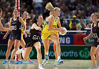 14.10.2017 Silver Ferns Bailey Mes and Australia's Jo Weston in action during the Constellation Cup netball match between the Silver Ferns and Australia at QudosBank Arena in Sydney. Mandatory Photo Credit ©Michael Bradley.