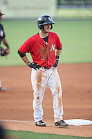 Eddy Alvarez (1) of the Kannapolis Intimidators stands on third base during the game against the Hickory Crawdads at CMC-Northeast Stadium on May 21, 2015 in Kannapolis, North Carolina.  The Intimidators defeated the Crawdads 2-0 in game two of a double-header.  (Brian Westerholt/Four Seam Images)