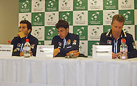 01-02-14,Czech Republic, Ostrava, Cez Arena, Davis Cup Czech Republic vs Netherlands, ,  Press conference Robin Haase and Jean Julien Rojer(L)(NED) and captain Jan Siemerink are extremely disappointed after losing the doubles<br />   <br /> Photo: Henk Koster