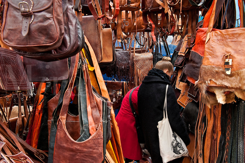Leather goods for sale in an outdoor market, Madrid, Spain