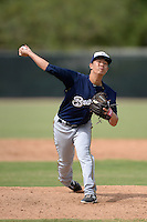 Milwaukee Brewers pitcher Jordan Yamamoto (40) during an Instructional League game against the Cincinnati Reds on October 6, 2014 at Maryvale Baseball Park Training Complex in Phoenix, Arizona.  (Mike Janes/Four Seam Images)