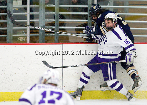 Connor Hendry (Curry - 16), Tony Galante (Johnson & Wales - 5) - The Curry College Colonels defeated the Johnson & Wales University Wildcats 5-4 on Curry's senior night on Saturday, February 18, 2012, at Max Ulin Rink in Milton, Massachusetts.