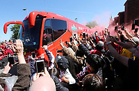 Fans gather to greet the Liverpool team coach as it arrives ahead of kick-off at Anfield<br /> <br /> Photographer Rich Linley/CameraSport<br /> <br /> The Premier League - Liverpool v Wolverhampton Wanderers - Sunday 12th May 2019 - Anfield - Liverpool<br /> <br /> World Copyright © 2019 CameraSport. All rights reserved. 43 Linden Ave. Countesthorpe. Leicester. England. LE8 5PG - Tel: +44 (0) 116 277 4147 - admin@camerasport.com - www.camerasport.com