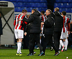 John Lundstram of Sheffield Utd  and Chris Wilder manager of Sheffield Utd during the Championship match at the Macron Stadium, Bolton. Picture date 12th September 2017. Picture credit should read: Simon Bellis/Sportimage