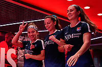 HARRISON, NJ - SEPTEMBER 29: Kenie Wright #14, Paige Monaghan #4, and Julie James Doyle #5 of Sky Blue FC during a game between Orlando Pride and Sky Blue FC at Red Bull Arena on September 29, 2019 in Harrison, New Jersey.