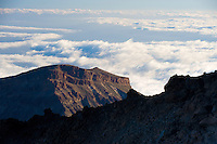 Lava fields and the Cañadas in The Teide volcano (the highest mountain of Spain, 3.718 m), at sunrise. Teide National Park, Tenerife Island, Canary Islands, Spain.