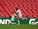 Andy Drury of Stevenage Borough is congratulated by Yemi Odubade of Stevenage Borough after scoring the first goal during the FA Trophy Final between Barrow and Stevenage Borough at Wembley Stadium, London on 8th May,2010..© Kevin Coleman 2010.