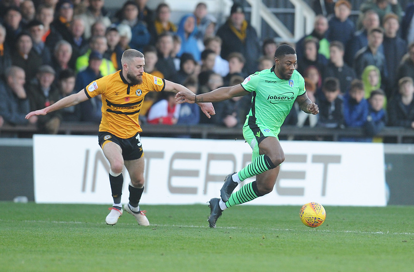 Colchester United's Ryan Jackson under pressure from Newport County's Dan Butler<br /> <br /> Photographer Kevin Barnes/CameraSport<br /> <br /> The EFL Sky Bet League Two - Newport County v Colchester United - Saturday 17th November 2018 - Rodney Parade - Newport<br /> <br /> World Copyright © 2018 CameraSport. All rights reserved. 43 Linden Ave. Countesthorpe. Leicester. England. LE8 5PG - Tel: +44 (0) 116 277 4147 - admin@camerasport.com - www.camerasport.com