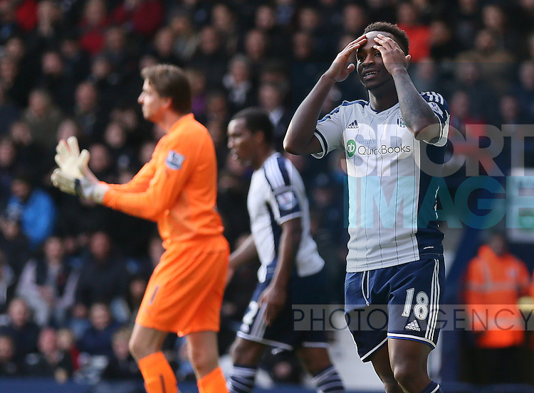 Despair for Saido Berahino of West Bromwich Albion after a chance to score goes begging  - Barclays Premier League - WBA vs Newcastle Utd - Hawthorns Stadium - West Bromwich - England - 9th November 2014  - Picture Simon Bellis/Sportimage
