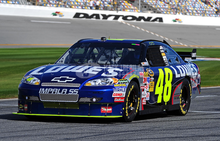 Feb 11, 2009; Daytona Beach, FL, USA; NASCAR Sprint Cup Series driver Jimmie Johnson during practice for the Daytona 500 at Daytona International Speedway. Mandatory Credit: Mark J. Rebilas-