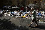 A photo taken on July 15, 2020. show the accumulation of waste in the streets of Beirut after the workers went on strike to not pay their dues by the Lebanese state, in Beirut, Lebanon on July 15, 2020. Photo by Marwan Tahtah