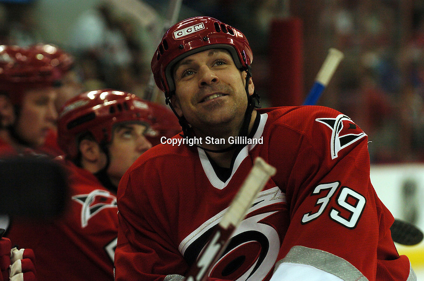 Carolina Hurricanes' Doug Weight looks up into the crowd during a game with the New York Rangers Tuesday, March 14, 2006 at the RBC Center in Raleigh, NC. Carolina won 5-3.
