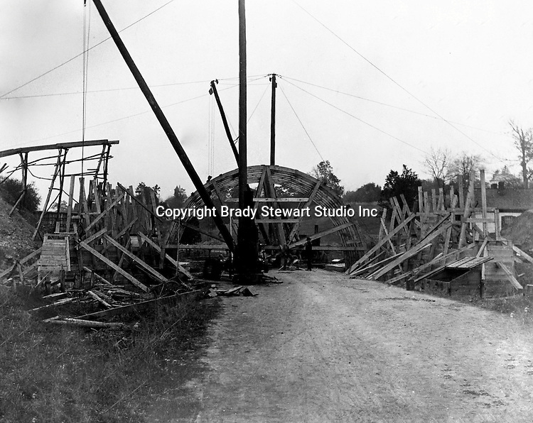 Hopedale OH:  Construction of the concrete arch for the Spellacy Tunnel - 1903.  The Pittsburgh, Toledo and Western Railroad company, owned by the famous George J. Gould,  hired Brady Stewart to document the track and tunnel construction between Hopedale Ohio and downtown Pittsburgh.