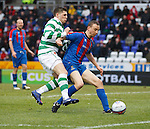 David Proctor tries to shepherd the ball out but end up fouling Gary Hooper for a penalty to Celtic