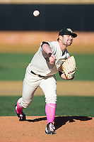 Wake Forest Demon Deacons relief pitcher Will Finley (33) in action against the Virginia Tech Hokies at Wake Forest Baseball Park on March 7, 2015 in Winston-Salem, North Carolina.  The Hokies defeated the Demon Deacons 12-7 in game one of a double-header.   (Brian Westerholt/Four Seam Images)