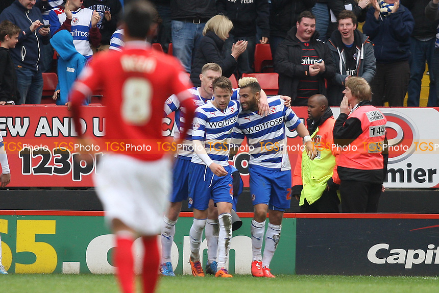 Daniel Williams of Reading (r) scores and celebrates winning goal - Charlton Athletic vs Reading - Sky Bet Championship Football at the Valley, London - 05/04/14 - MANDATORY CREDIT: George Phillipou/TGSPHOTO - Self billing applies where appropriate - 0845 094 6026 - contact@tgsphoto.co.uk - NO UNPAID USE