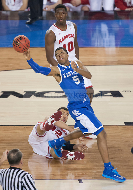 Kentucky Wildcats guard Andrew Harrison (5) catches a rebound during the NCAA Final Four vs. Wisconsin at the AT&T in Arlington, Tx., on Saturday, April 5, 2014. Photo by Eleanor Hasken   Staff