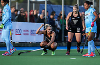 Rachel McCann of the Blacksticks celebrates a goal with during the international hockey match between the Blacksticks Women and India, Rosa Birch Park, Pukekohe, New Zealand. Sunday 14  May 2017. Photo:Simon Watts / www.bwmedia.co.nz