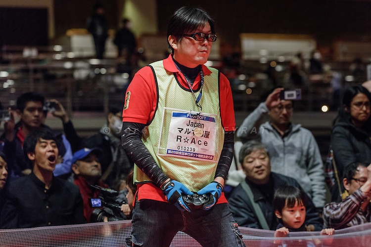Tokyo, Japan, December 18 2016 - International ROBOT SUMO tournament 2016, held in the Ryogoku Kokugikan, the stadium for sumo tournaments. Part 2: International competition. Yoshifumi MATSUNAGA won both Japanese and international competitions (radiocontrolled robots) this year.