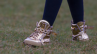 Temple (Alien Uncovered) Golden Shoes during the SOCCER SIX Celebrity Football Event at the Queen Elizabeth Olympic Park, London, England on 26 March 2016. Photo by Andy Rowland.