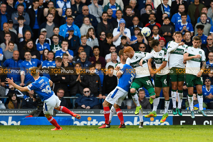 Conor Chaplin of Portsmouth fires a free kick over the defensive wall during Portsmouth vs Plymouth Argyle, Sky Bet EFL League 2 Football at Fratton Park on 14th April 2017