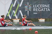 Lucerne, SWITZERLAND<br /> <br /> POL W2-, approaching the finish line.2016 European Olympic Qualifying Regatta, Lake Rotsee.<br /> <br /> Monday  23/05/2016<br /> <br /> [Mandatory Credit; Peter SPURRIER/Intersport-images]