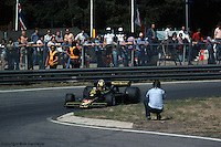 HEUSDEN-ZOLDER - MAY 16:  Gunnar Nilsson drives the Lotus 77 R2/Ford Cosworth DFV during practice for the Grand Prix of Belgium on May 16, 1976, at Circuit Zolder near Heusden-Zolder, Belgium.