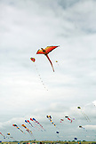 USA, Washington State, Long Beach Peninsula, kites fly in the wind at the International Kite Festival, dragon kite
