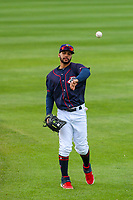 Cedar Rapids Kernels outfielder Gilberto Celestino (8) warms up in the outfield prior to a Midwest League game against the Bowling Green Hot Rods on May 2, 2019 at Perfect Game Field in Cedar Rapids, Iowa. Bowling Green defeated Cedar Rapids 2-0. (Brad Krause/Four Seam Images)