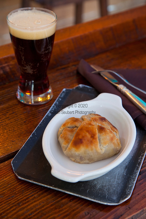 Ned Ludd, a restaurant in NE Portland, where nearly every dish is cooked in the restaurant's wood burning oven. The restaurant's pork and beef meat pie.