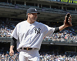 Masahiro Tanaka (Yankees),<br /> AUGUST 9, 2015 - MLB :<br /> Masahiro Tanaka of the New York Yankees smiles after getting a bunt groundout to end the top of the fifth inning during the Major League Baseball game against the Toronto Blue Jays at Yankee Stadium in the Bronx, New York, United States. (Photo by AFLO)