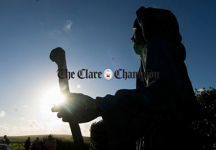 The statue of St Senan at Tullaher, Doonbeg where the annual open air mass was held. Photograph by John Kelly.