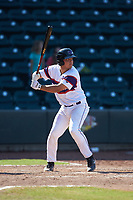 Carlos Perez (14) of the Winston-Salem Rayados at bat against the Lynchburg Hillcats at BB&T Ballpark on June 23, 2019 in Winston-Salem, North Carolina. The Hillcats defeated the Rayados 12-9 in 11 innings. (Brian Westerholt/Four Seam Images)