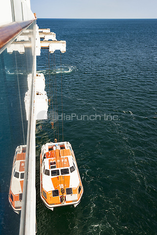 A life boat tender being lifted back onto a cruise ship  June 2015.<br /> CAP/MEL<br /> &copy;MEL/Capital Pictures /MediaPunch ***NORTH AND SOUTH AMERICA ONLY***