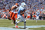 19 September 2015: UNC's Quinshad Davis catches his 22nd career touchdown pass, breaking a school record he shared with Hakeem Nicks (not pictured). The University of North Carolina Tar Heels hosted the University of Illinois Fighting Illini at Kenan Memorial Stadium in Chapel Hill, North Carolina in a 2015 NCAA Division I College Football game. UNC won the game 48-14.