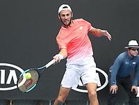 16th January 2019, Melbourne Park, Melbourne, Australia; Australian Open Tennis, day 3; Stefano Travaglio of Italy in action  against Nikoloz Basilashvili of Georgia