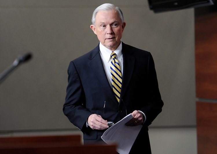 UNITED STATES - FEBRUARY 1:  Sen. Jeff Sessions, R-Ala., arrives for a news conference on the introduction of the Honest Budget Act.  Sessions and Rep. Martha Roby, R-Ala., are sponsors of the bill. (Photo by Chris Maddaloni/CQ Roll Call)