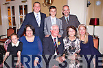 Enjoying the 80th birthday celebrations of Joe Cronin in the Listowel Arms Hotel on Saturday night were Front Row L-R: Libby and Rita Nichols, Peterborough, UK, Joe Cronin, originally from Listowel now living in Peterborough, UK, MaryAnna and Janet Cronin, Peterborough, UK. Back Row L-R: Tom and Oliver Nichols, Peterborough, UK, David Harrison, Brighton, UK.