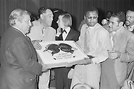March 8 1971, Manhattan, New York City, New York State, USA --- Boxer Joe Frazier and Musician Duke Ellington hold the victory cake after Joe Frazier defeated Muhammad Ali for the World Heavyweight Championship at Madison Square Garden. --- Image by © JP Laffont