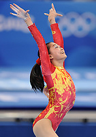 Aug 13, 2008, Beijing, China, China's Yuyuan Jiang in action during the floor routine of the women's team gymnastics final at the National Indoor Stadium during the Beijing Olympic Games.<br /> Olimpiadi Pechino 2008<br /> Foto Cspa/Insidefoto
