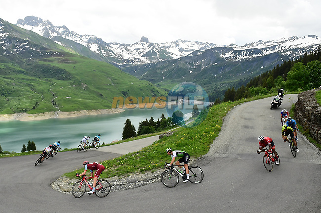 The breakaway group in action during Stage 6 of the 2018 Criterium du Dauphine 2018 running 110km from Frontenex to La Rosiere, France. 9th June 2018.<br /> Picture: ASO/Alex Broadway | Cyclefile<br /> <br /> <br /> All photos usage must carry mandatory copyright credit (© Cyclefile | ASO/Alex Broadway)