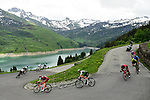 The breakaway group in action during Stage 6 of the 2018 Criterium du Dauphine 2018 running 110km from Frontenex to La Rosiere, France. 9th June 2018.<br /> Picture: ASO/Alex Broadway | Cyclefile<br /> <br /> <br /> All photos usage must carry mandatory copyright credit (&copy; Cyclefile | ASO/Alex Broadway)