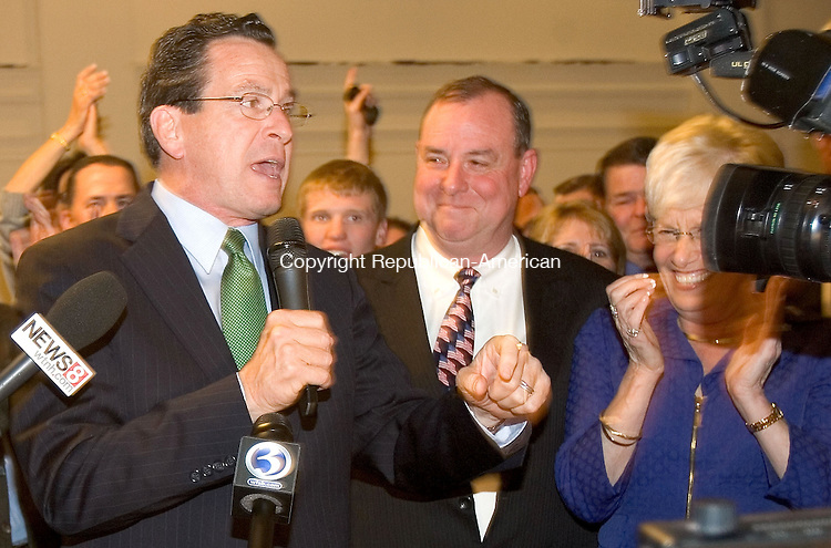 WATERBURY, CT. 08 November 2011-110811SV09--Governor Dannel Malloy congratulates Neil O'Leary after O&quot;Leary beat Mayor Michael J. Jarjura for Mayor in Waterbury Tuesday.<br /> Steven Valenti Republican-American