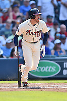Atlanta Braves first baseman Freddie Freeman (5) swings at a pitch during a game against the Chicago Cubs at Turner Field on June 11, 2016 in Atlanta, Georgia. The Cubs defeated the Braves 8-2. (Tony Farlow/Four Seam Images)
